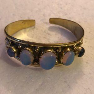 Vintage brass moonstone cuff